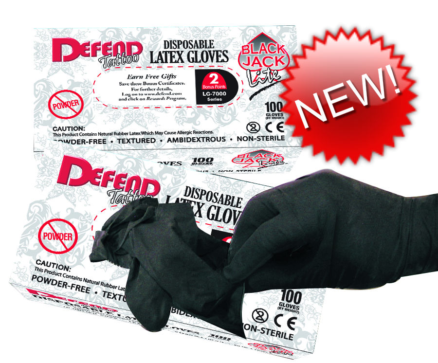 LITE Blackjack Powder-Free Textured Latex Gloves - Large