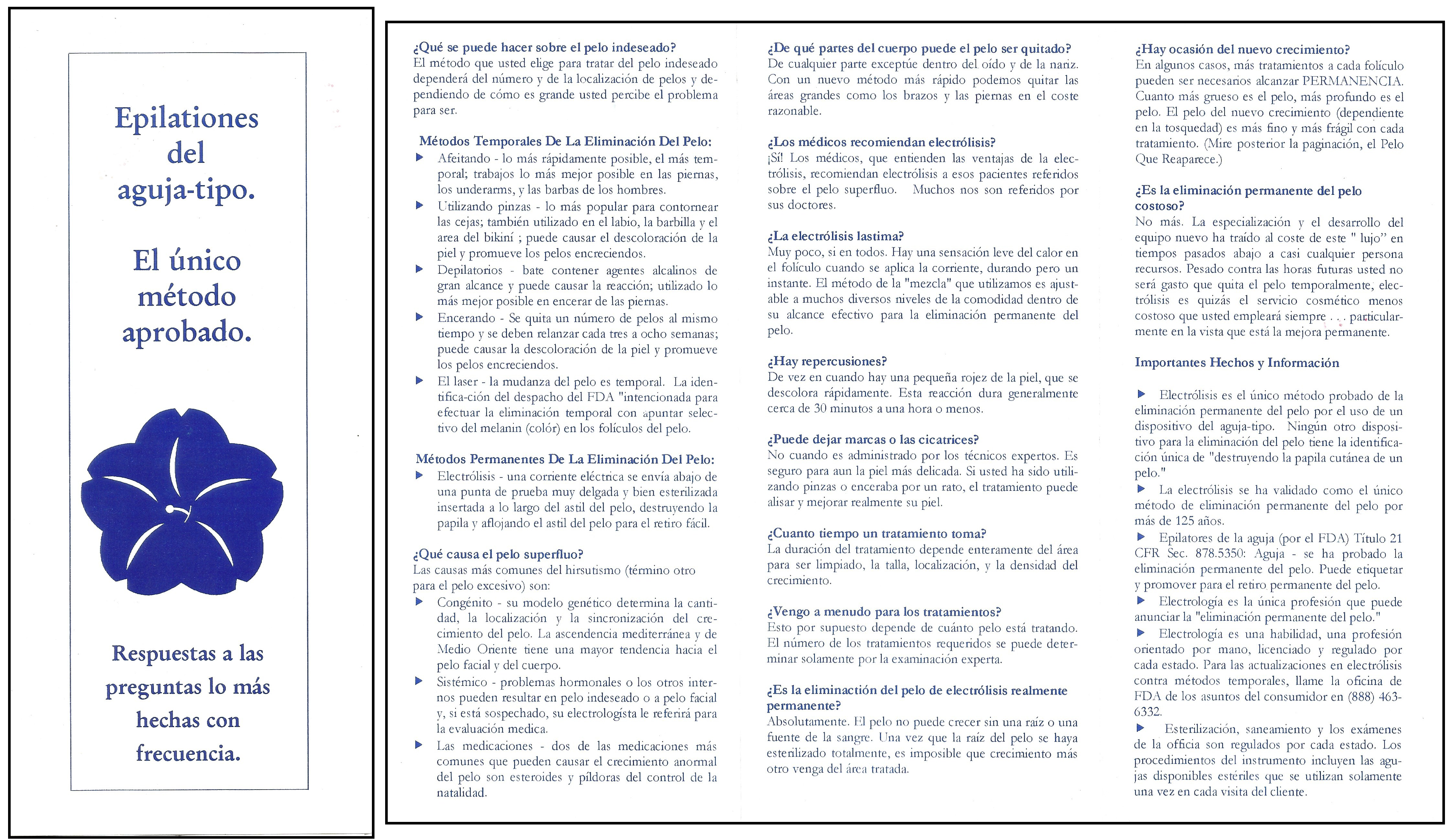 """Electrolysis Needle-Type Epilation"" Brochure - In Spanish"