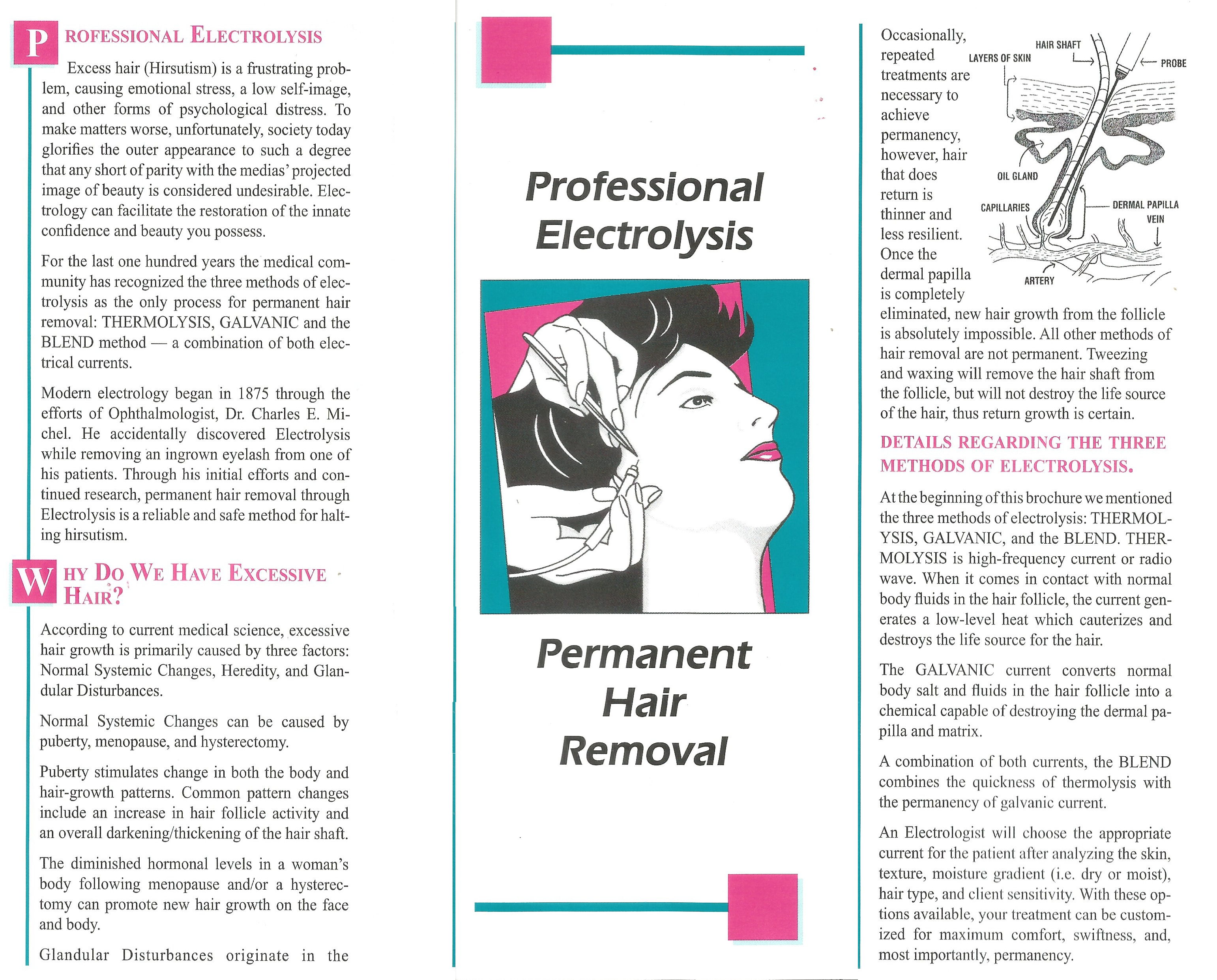 Professional Electrolysis Permanent Hair Removal Brochure