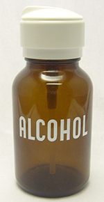 "Pump Dispenser - Amber - Glass - Labeled ""Alcohol"" - 8 oz."