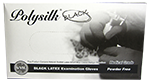 Polysilk Black Powder Free Latex Gloves - Medium